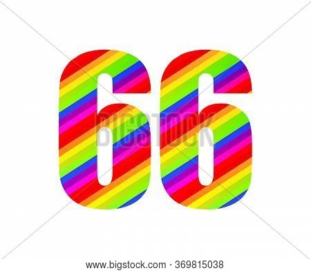 66 Number Rainbow Style Numeral Digit. Colorful Sixty Six Number Vector Illustration Design Isolated