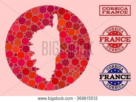 Vector Map Of Corsica Collage Of Round Dots And Red Grunge Seal Stamp. Hole Circle Map Of Corsica Co