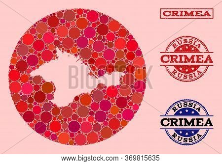 Vector Map Of Crimea Collage Of Spheric Spots And Red Scratched Seal. Subtraction Round Map Of Crime