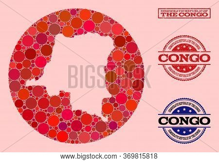 Vector Map Of Democratic Republic Of The Congo Collage Of Circle Elements And Red Rubber Seal. Hole