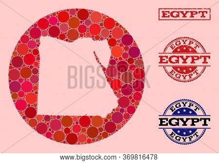 Vector Map Of Egypt Collage Of Round Dots And Red Rubber Seal. Subtraction Round Map Of Egypt Collag
