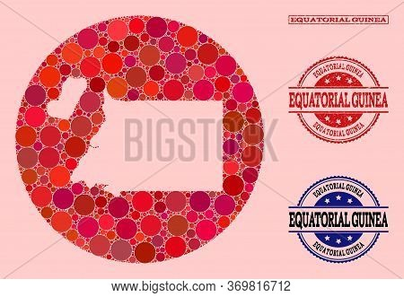Vector Map Of Equatorial Guinea Mosaic Of Round Dots And Red Watermark Stamp. Stencil Round Map Of E