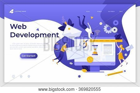 Landing Page Template With Programmers, Coders Or Developers Levitating Around Computer. Web Develop
