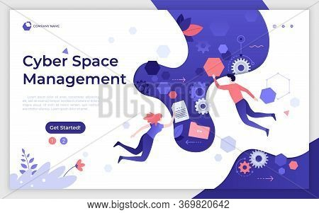 Landing Page Template With Man And Woman Flying Or Levitating In Cyber Space. Cyberspace Management,