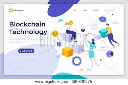 Landing Page Template With People And Cubic Blocks Connected Into Chain. Blockchain Technology, Cryp