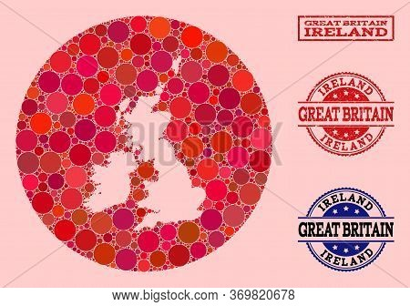 Vector Map Of Great Britain And Ireland Collage Of Round Items And Red Scratched Seal. Subtraction R