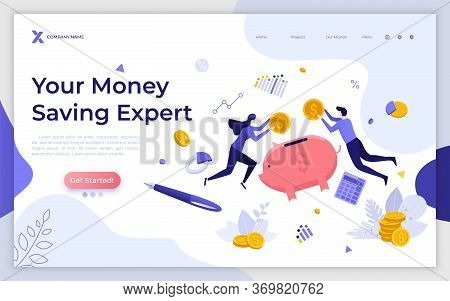Landing Page Template With Levitating People, Coins And Piggy Bank. Money Saving Expert, Investment
