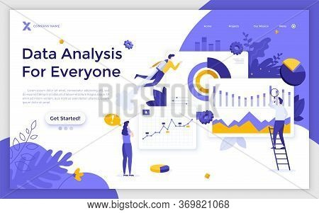 Landing Page Template With Group Of Men And Women Analyzing Diagrams, Graphs, Charts. Big Data Analy