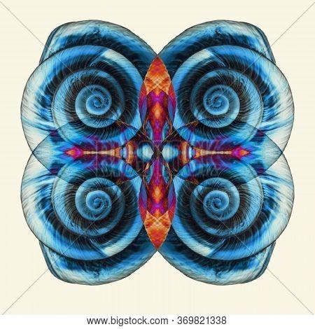 Abstract Surreal Blue Snail Shell Pattern. Creative, Geometric Shell Pattern. Minimal Natural Luxury