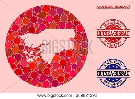 Vector Map Of Guinea-bissau Collage Of Circle Items And Red Watermark Seal Stamp. Subtraction Round