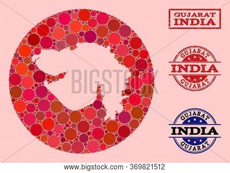 Vector Map Of Gujarat State Collage Of Round Elements And Red Scratched Seal. Subtraction Round Map