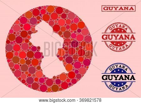Vector Map Of Guyana Mosaic Of Round Items And Red Scratched Seal Stamp. Stencil Circle Map Of Guyan