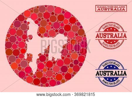 Vector Map Of Hamilton Island Collage Of Circle Items And Red Grunge Stamp. Hole Circle Map Of Hamil