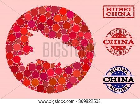 Vector Map Of Hubei Province Collage Of Round Spots And Red Grunge Seal Stamp. Stencil Round Map Of