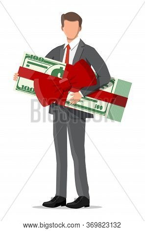 Successful Businessman Celebrates His Victory Holding Dollar Bundle With Ribbon And Bow. Business Su