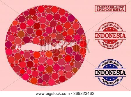 Vector Map Of Indonesia - Flores Islands Collage Of Round Dots And Red Rubber Seal Stamp. Subtractio