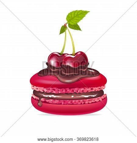 Macaroon, Creamy Dessert With Chocolate And Cherries Realistic Vector Illustration. Crimson Meringue