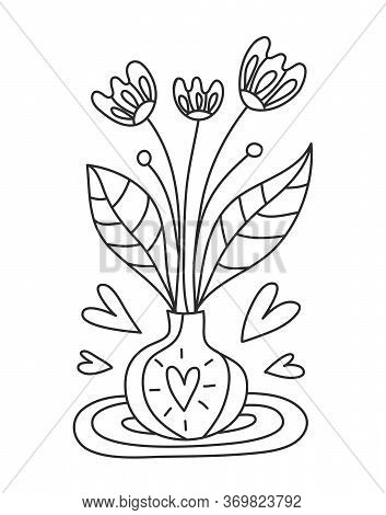 Bouquet Of Summer Flowers In A White Vase, Vector And Illustration.coloring With Indoor Flowers In A