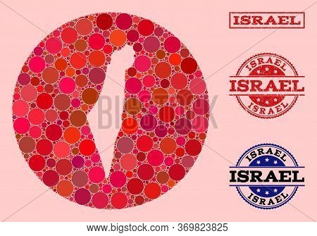 Vector Map Of Israel Collage Of Round Items And Red Scratched Stamp. Hole Round Map Of Israel Collag