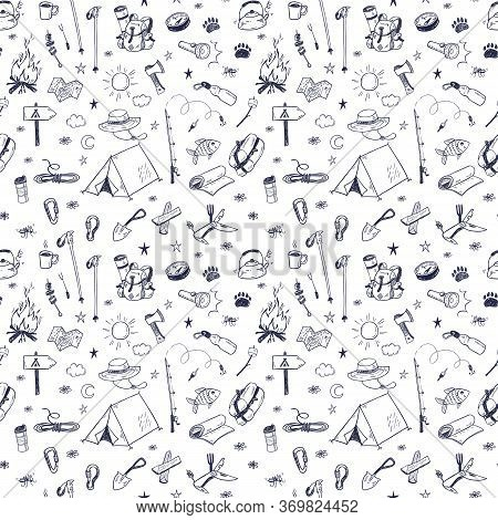 Hand Drawn Doodle Camping Vector Elements Seamless Pattern With Bonfire, Adventure, Hiking And Touri