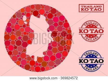 Vector Map Of Ko Tao Collage Of Round Spots And Red Rubber Stamp. Subtraction Round Map Of Ko Tao Co