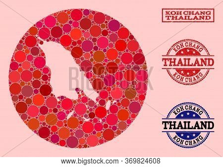 Vector Map Of Koh Chang Mosaic Of Spheric Items And Red Grunge Seal. Hole Round Map Of Koh Chang Col