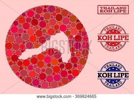 Vector Map Of Koh Lipe Collage Of Round Items And Red Rubber Stamp. Stencil Round Map Of Koh Lipe Co