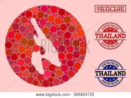 Vector Map Of Koh Phi Don Collage Of Circle Items And Red Watermark Stamp. Hole Round Map Of Koh Phi
