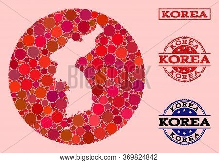 Vector Map Of Korea Collage Of Circle Blots And Red Scratched Stamp. Subtraction Round Map Of Korea