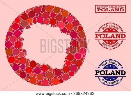 Vector Map Of Kujawy-pomerania Province Collage Of Spheric Blots And Red Watermark Seal. Hole Round
