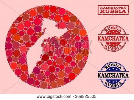 Vector Map Of Kamchatka Peninsula Collage Of Round Elements And Red Rubber Stamp. Stencil Round Map