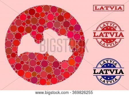 Vector Map Of Latvia Mosaic Of Round Elements And Red Grunge Seal. Subtraction Round Map Of Latvia C