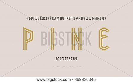 Cyrillic Narrow Striped Sans Serif Font. Bold Face. Letters And Numbers For Logo And Title Design