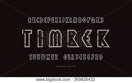 Hollow Geometric Sans Serif Font In Viking Style. Letters And Numbers With Rough Texture For Logo An