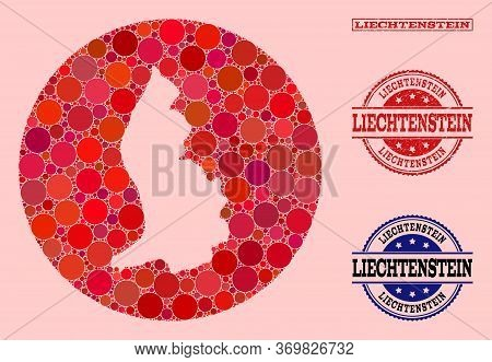 Vector Map Of Liechtenstein Collage Of Circle Elements And Red Scratched Seal. Hole Circle Map Of Li
