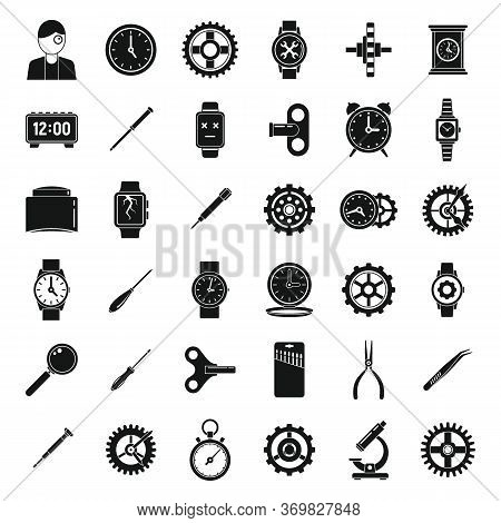 Watch Repair Parts Icons Set. Simple Set Of Watch Repair Parts Vector Icons For Web Design On White