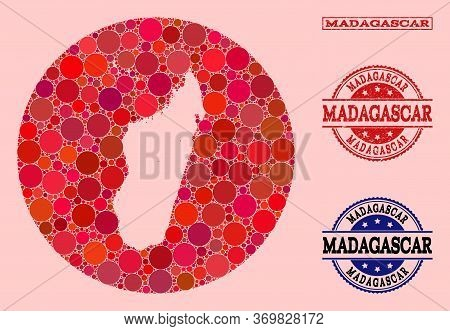 Vector Map Of Madagascar Island Collage Of Circle Items And Red Rubber Stamp. Hole Circle Map Of Mad