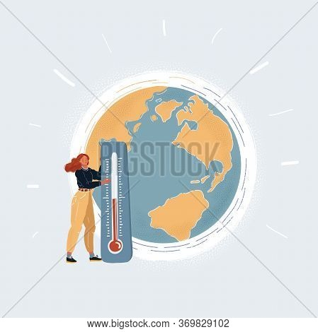 Cartoon Vector Of Woman With Giant Thermometer Beside Earth Globe.