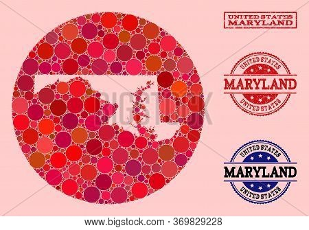 Vector Map Of Maryland State Collage Of Spheric Dots And Red Rubber Seal Stamp. Stencil Round Map Of