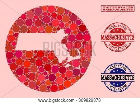 Vector Map Of Massachusetts State Collage Of Circle Elements And Red Grunge Seal Stamp. Hole Round M