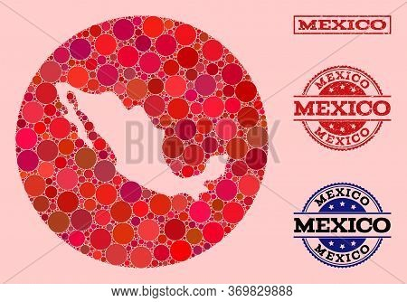 Vector Map Of Mexico Mosaic Of Round Dots And Red Rubber Seal. Hole Round Map Of Mexico Collage Form