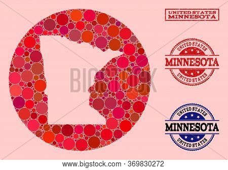Vector Map Of Minnesota State Collage Of Circle Items And Red Watermark Stamp. Stencil Round Map Of