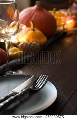 Fall Place Setting With Pumpkins, Autumn Harvest, Apples, Cone,dry Maple Leaves.copy Space. Centerpi