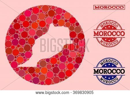 Vector Map Of Morocco Collage Of Circle Spots And Red Watermark Seal. Hole Circle Map Of Morocco Col