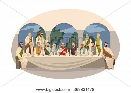 Religion, Bible, Christianity Concept. New Testament Biblical Religious Series Illustration. Last Su