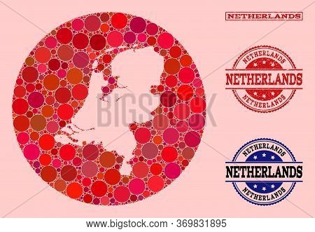 Vector Map Of Netherlands Collage Of Round Dots And Red Watermark Stamp. Hole Round Map Of Netherlan
