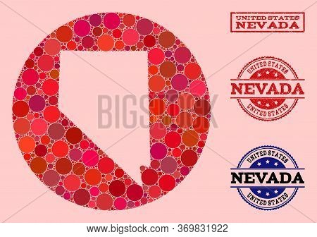 Vector Map Of Nevada State Mosaic Of Circle Spots And Red Scratched Seal. Stencil Round Map Of Nevad
