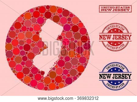 Vector Map Of New Jersey State Collage Of Circle Dots And Red Watermark Seal. Stencil Round Map Of N