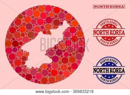 Vector Map Of North Korea Collage Of Round Blots And Red Watermark Stamp. Subtraction Round Map Of N