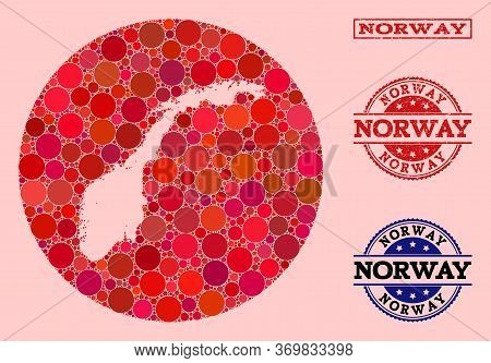 Vector Map Of Norway Collage Of Circle Spots And Red Rubber Stamp. Stencil Circle Map Of Norway Coll